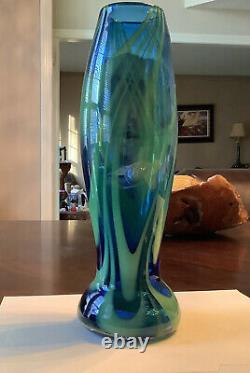 Blenko Glass Company FIRE and ICE tall Vase Sign by Matthew Carter 2002