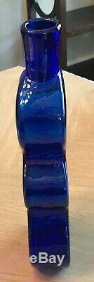 Blenko Glass Large Big Vase Bottle 1980's Abstract W Sticker Mint Cobalt Blue