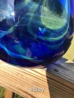 Blenko Huge Experimental Floor Vase Cobalt Swirl