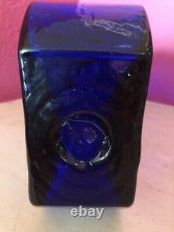 Blenko Vintage 8904 Puzzle Piece Cobalt Vase Modernist Unique Handmade Hank Adam