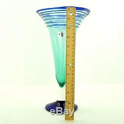 Blenko Vintage Handmade Blown Art Glass Vase Cobalt Blue Applied Swirl 12 ¼
