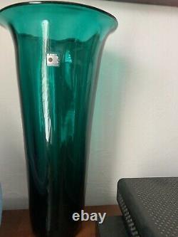Blenko glassblown vintage handmade Teal Blue Green Large Vase Don Shepherd