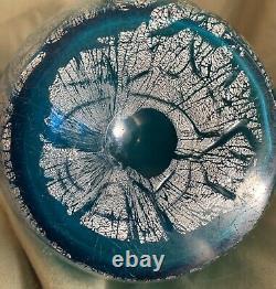 Blue Argentan Loetz Style Crackle Vase