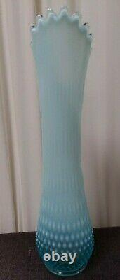 Blue Fenton Opalescent Hobnail Art Glass Hand Swung Upside-down Flower Vase