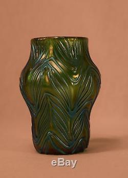 Blue & Green Iridescent Loetz Art Glass Cabinet Vase