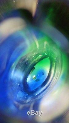 Blue Green Murano Sommerso Teardrop Vase