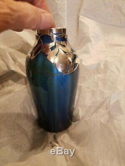 Blue Loetz Metallin Sterling Overlay Vase