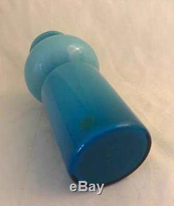 Blue & Opal Holmegaard Carnaby Tall Bulge Vase Per Lutken 1960s Retro Design