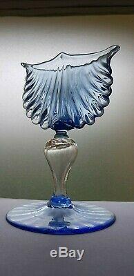 Blue and clear Murano glass Scallop-Shell Vase by Antonio Salviati c. 1880-1895
