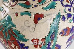 Boch Freres Keramis Pottery Art Nouveau Vase Teal Red Blue 9.5 Belgium