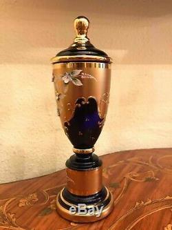 Bohemia Bohemian Murano Cobalt Blue Gold Plated Urn Vase