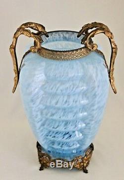 Bohemian Art Deco Agua Blue Ribbed Spatter Glass Vase 11.5 Gilt Metal Mounted