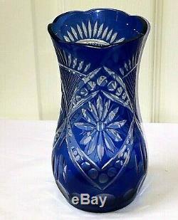 Bohemian Czech Cobalt Blue Cut To Clear Crystal Art Glass Vase 7.5 x 4 Mint