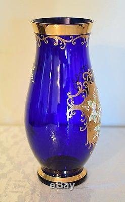 Bohemian Czech Gold High Enamel Cobalt Blue Crystal Glass Vase