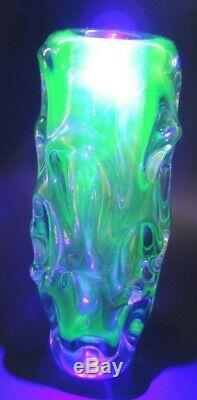 Bohemian Czech purple-blue-uranium green glass vase by Skrdlovice Jan Beránek