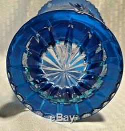 Bohemian/czech Vase 10 Royal Blue Cut To Clear Crystal Bohemia Crystal Co
