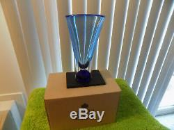 Brand New Zoom VASE Goran Warff for Kosta Boda in Box Blue Controlled Bubbles