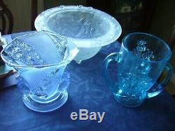 Brockwitz Art Deco Parakeet Vase in Blue Glass