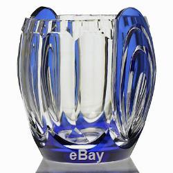 C. 1930s Val St. Lambert blue overlay crystal Deco vase, Charles Graffart