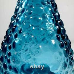 C1960 Genie Bottle Decanter Rare Petrol Blue Hobnail Italy Art Glass Emboli MCM