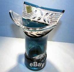 CAESAR CRYSTAL Azure Teal Vase Hand Cut to Clear Overlay Czech Bohemian Cased