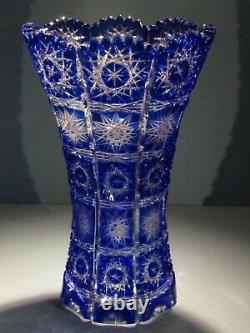 CAESAR CRYSTAL Blue Vase Hand Blown Cut to Clear Overlay Czech Bohemia Cased