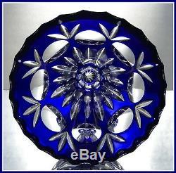COBALT BLUE Trumpet-Shape Vase CUT TO CLEAR CRYSTAL Nachtmann BAMBERG Germany