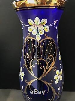 CZECH BOHEMIAN GLASS FLOWER VASE BLUE & GOLD HANDPAINTED FLOWERS 18 Inch High