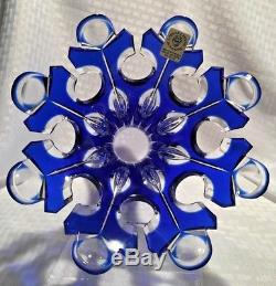 Caesar Bohemiae Sunset Vase Cobalt Blue Cut To Clear Crystal Czech Bohemian