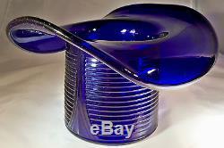 Cambridge Glass Co. Cobalt Royal Blue #1402 10 Diameter Large Novelty Hat Vase