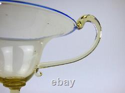 Cappellin Venini smoke & blue glass cup Vittorio Zecchin Libellula handle 20s 1