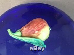 Carder Steuben Covered Vase Marmalade Jar Blue with Pears Fruit Embellishment