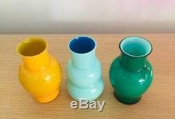 Carlo Moretti 3 Small Glass Vases Signed Made In Murano Italy