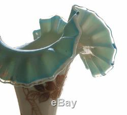 Centrepiece Epergne Hand Enameled Frill Edge Opaline Glass Victorin Antique