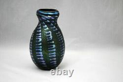 Charles Lotton Art Glass 6.5 inch Vase Blue Iridescent Zipper on Green 1978
