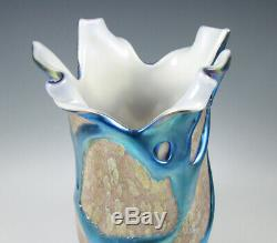 Charles Lotton Art Glass Cypriot Lava Vase with Blue Iridescent 1995