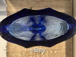 Cobalt Aurora Vase by Fire and Light Art Recycled Glass SIGNED