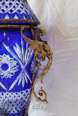 Cobalt Blue Cut Bohemian Crystal Lidded Vase with Ormolu Brass Structure