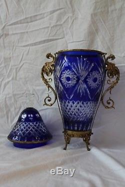 Cobalt Blue Cut Bohemian Crystal Lidded Vase with Ormolu Brass Structure