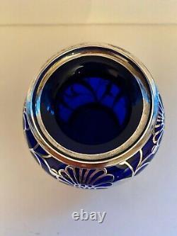 Cobalt Blue Silver Overlay Vase Friedrich Spahr -Jean Beck Unsigned