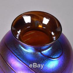 Colin Heaney Cape Byron Hot Glass Vase, 1989, 14cm Iridescent Blue, Purple