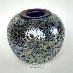 Correia Art Glass Vase Cobalt Textured Iridescent- Vintage Signed