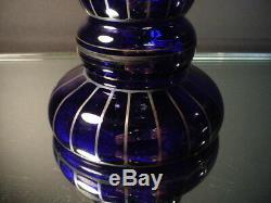 Czech Art Glass Wiener Werkstatte 12 Ht Cobalt Vase withSilver Powolny Art Deco