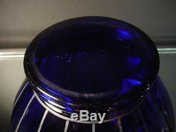 Czech Art Glass Wiener Werkstatte 4 1/2Ht Cobalt Vase withSilver Powolny Art Deco