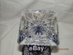 + Czech Bohemian Cobalt blue lead crystal cut to clear Flower Vase 14 tall WOW