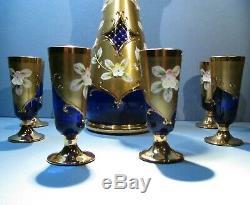 Czech Bohemian High Enamel Blue Gold Decanter 6 Glasses Hand Painted Egermann