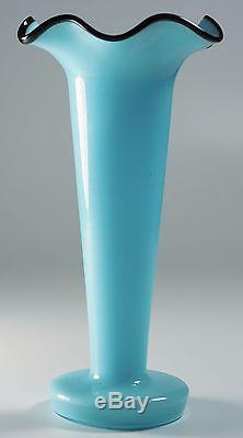 Czech Kralik Tango Glass Vase Blue with Black Thread Rim