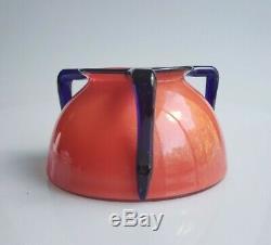 Czech Tango Glass Vase 3 Handle Orange and blue teakettle shape Powolny Loetz