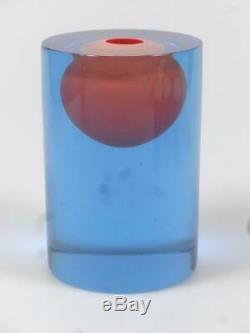 Czech art glass vase by Vizner Egg vase Red Blue glass Sculptural heavy