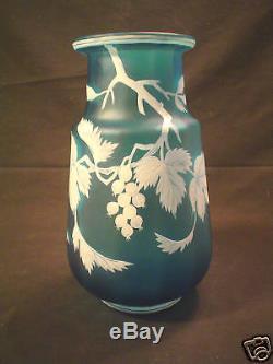 DEEP BLUE BOHEMIAN FLORENTINE ART CAMEO ART GLASS VASE, c. 1880-1900